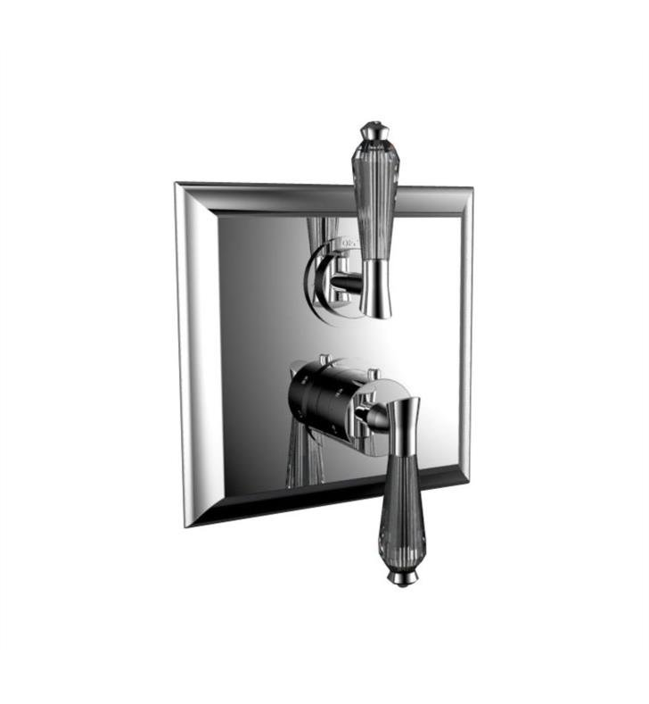 "Santec 7095DC70-TM Edo Crystal 1/2"" Thermostatic Trim with DC Handle and Volume Control - (Uses TH-8000 Valve) With Finish: Polished Nickel <strong>(USUALLY SHIPS IN 2-3 WEEKS)</strong>"