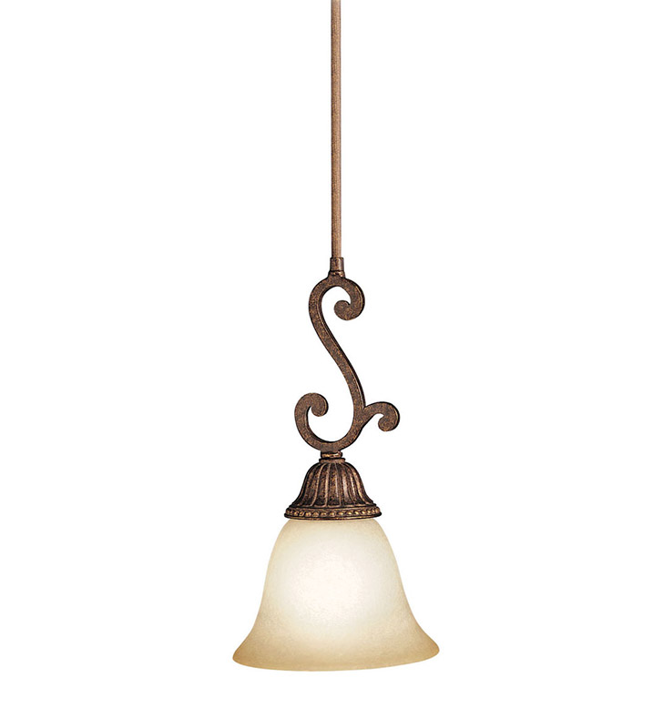 Kichler 2703TZG Larissa Collection Mini Pendant 1 Light in Tannery Bronze with Gold Accent