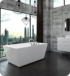 "Neptune Rouge 16.10022.0000.10 Amaze F1 AZ3266 66"" Free Standing Rectangular Bathtub in White"