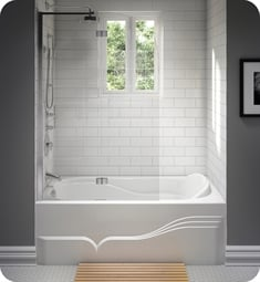 "Neptune 111412.5 Daphne DA60 60"" Customizable Alcove Rectangular Bathtub with Tiling Flange and Skirt"
