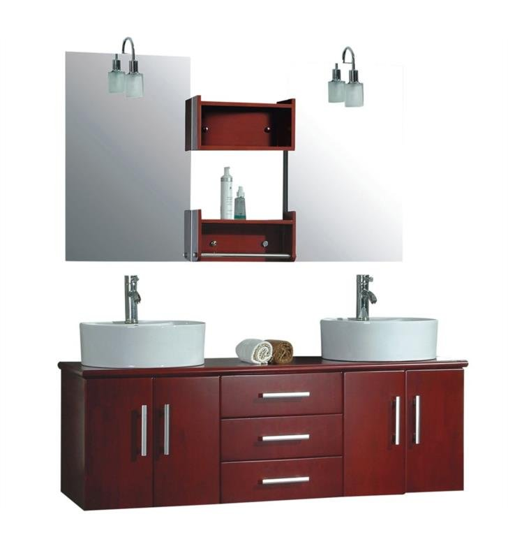 "Cambridge Plumbing 5044-BN 59"" Wall Mount Solid Wood Double Sink Bathroom Vanity Set in Red Cherry With Faucet Finish: Brushed Nickel"