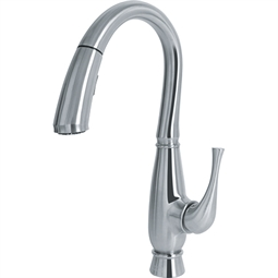 "Franke FF3550 Orca 16 3/8"" Single Hole Deck Mounted Pulldown Kitchen Faucet in Steel"
