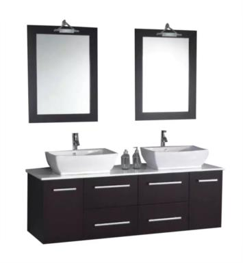 "Cambridge Plumbing 8113 63"" Wall Mount Wood & Porcelain Double Sink Bathroom Vanity Set in Espresso"
