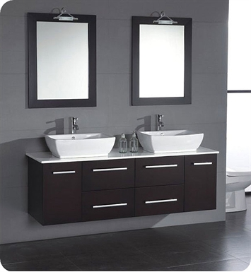 Cambridge Plumbing 8113-BN 63 inch Solid Wood & Porcelain Double Sink Vanity Set With Faucet Finish: Brushed Nickel