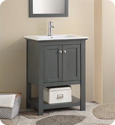 "Fresca FCB2304VG-I Manchester Regal 24"" Gray Wood Veneer Traditional Bathroom Vanity"