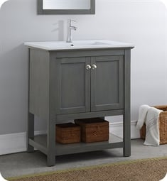 "Fresca FCB2305VG-I Manchester Regal 30"" Gray Wood Veneer Traditional Bathroom Vanity"