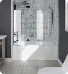 "Neptune Entrepreneur E10.21212.4500.10 ALBA3260 Albana AFR 59 3/4"" White Alcove Rectangular Bathtub with Integrated Tiling Flange & Left Drain"