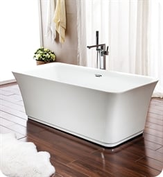 "Neptune Rouge 15.20210.000015.10 LON3060F1A London F1 58 7/8"" White Free Standing Rectangular Bathtub with Rouge-Air Therapy Mode"