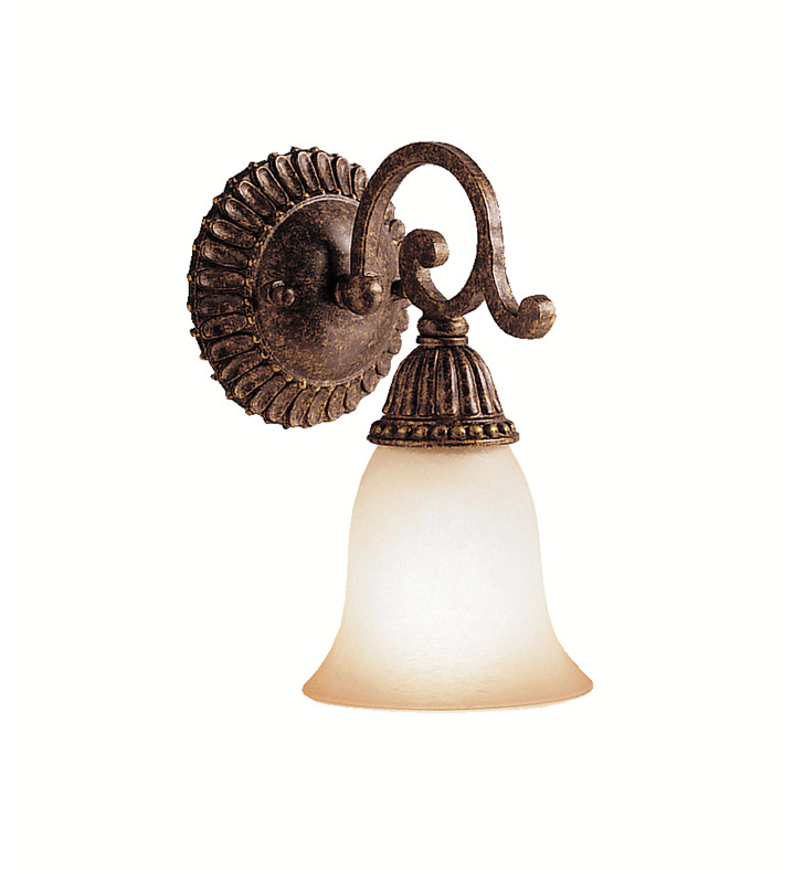 Kichler 5214TZG Larissa Collection Wall Sconce 1 Light in Tannery Bronze with Gold Accent