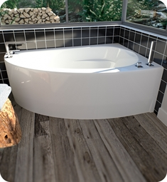 "Neptune 15.15516.500030.10 WI60TD Wind WI60D 60"" White Corner Bathtub with Skirt, Right Side Drain with Integrated Tiling Flange, Whirlpool Therapy Mode"