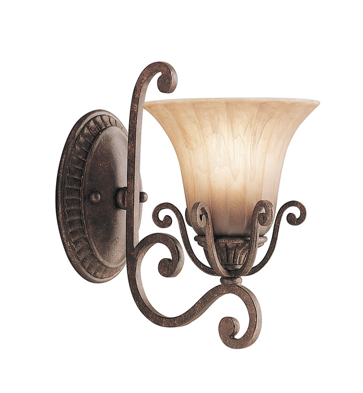 Kichler 6857CZ Cottage Grove Collection Wall Sconce 1 Light in Carre Bronze