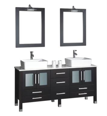"Cambridge Plumbing 8119XL 71"" Free Standing Wood & Porcelain Double Sink Bathroom Vanity Set in Espresso"