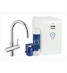"Grohe 31251 Blue 16"" Single Hole Deck Mounted Kitchen Faucet with Chilled and Sparkling Starter Kit"