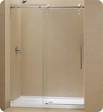 "DreamLine SHDR-6248760-07 Enigma-Z Fully Frameless Sliding Shower Door With Finish: Brushed Stainless Steel And Dimensions: W 44"" to 48"""