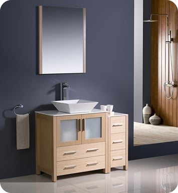 "Fresca FVN62-3012LO-VSL Torino 42"" Modern Bathroom Vanity with Side Cabinet and Vessel Sink in Light Oak"