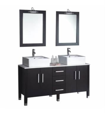 "Cambridge Plumbing 8128-BN 59 1/4"" Free Standing Wood & Porcelain Double Sink Bathroom Vanity Set in Espresso With Faucet Finish: Brushed Nickel"