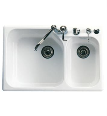"Rohl 6327-00 Allia 33 1/4"" Double Bowl Undermount/Drop-In Fireclay Kitchen Sink with Right Side Small Bowl With Finish: White"