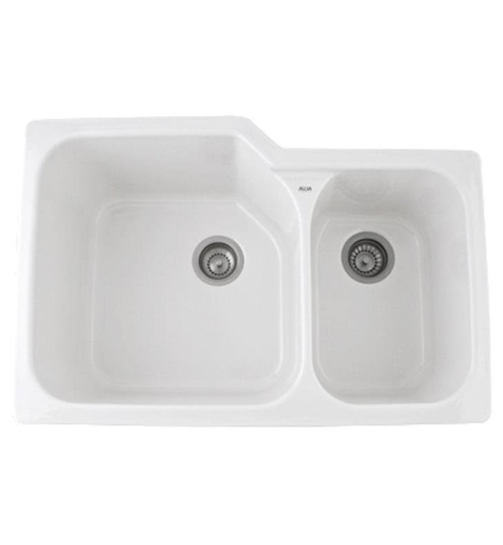 "Rohl 6337-00 Allia 33"" Double Bowl Undermount Fireclay Kitchen Sink with Right Side Small Bowl With Finish: White"