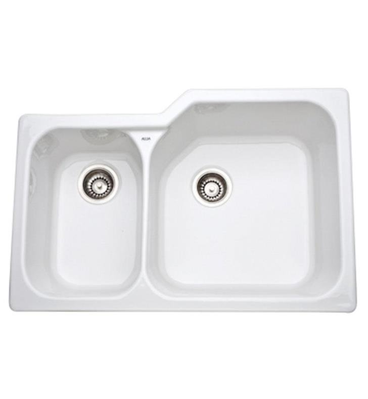 "Rohl 6339-00 Allia 33"" Double Bowl Undermount Fireclay Kitchen Sink with Left Side Small Bowl With Finish: White"