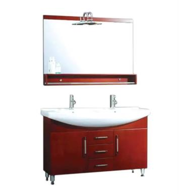 "Cambridge Plumbing 5040 48"" Free Standing Solid Wood Double Sink Bathroom Vanity Set in Red Cherry"