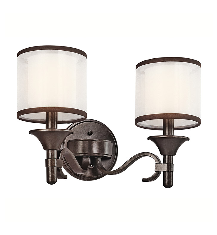 Kichler 45282MIZ Lacey Collection Bath 2 Light in Mission Bronze