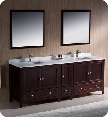 "Fresca FVN20-361236MH Oxford 84"" Traditional Double Sink Bathroom Vanity with Side Cabinet in Mahogany"