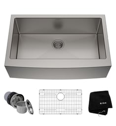 "Kraus KHF200-33 32 7/8"" Single Bowl Farmhouse/Apron Front Stainless Steel Rectangular Kitchen Sink"