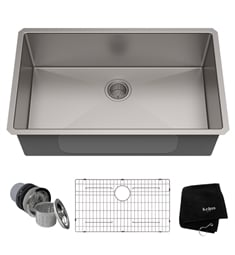 "Kraus KHU100-32 32"" Single Bowl Undermount Stainless Steel Rectangular Kitchen Sink"