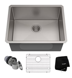 "Kraus KHU101-23 23"" Single Bowl Undermount Stainless Steel Rectangular Kitchen Sink"