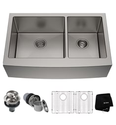 "Kraus KHF203-33 32 7/8"" Double Bowl Farmhouse/Apron Front Stainless Steel Rectangular Kitchen Sink"