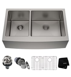 "Kraus KHF204-33 32 7/8"" Double Bowl Farmhouse/Apron Front Stainless Steel Rectangular Kitchen Sink"