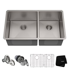 "Kraus KHU103-33 32 3/4"" Double Bowl Undermount Stainless Steel Rectangular Kitchen Sink"