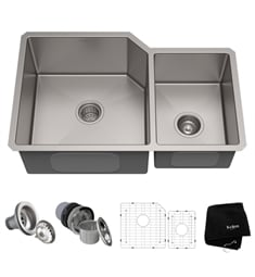 "Kraus KHU123-32 32"" Double Bowl Undermount Stainless Steel Rectangular Kitchen Sink"