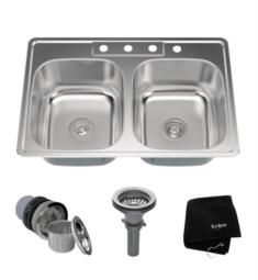 "Kraus KTM33 33 1/8"" Double Bowl Drop-In Stainless Steel Rectangular Kitchen Sink"