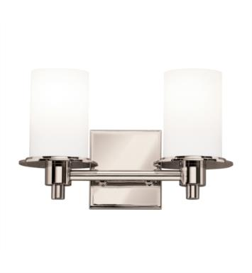 "Kichler 5437PN Cylinders 2 Light 12 3/4"" Incandescent Wall Mount Bath Light in Polished Nickel"