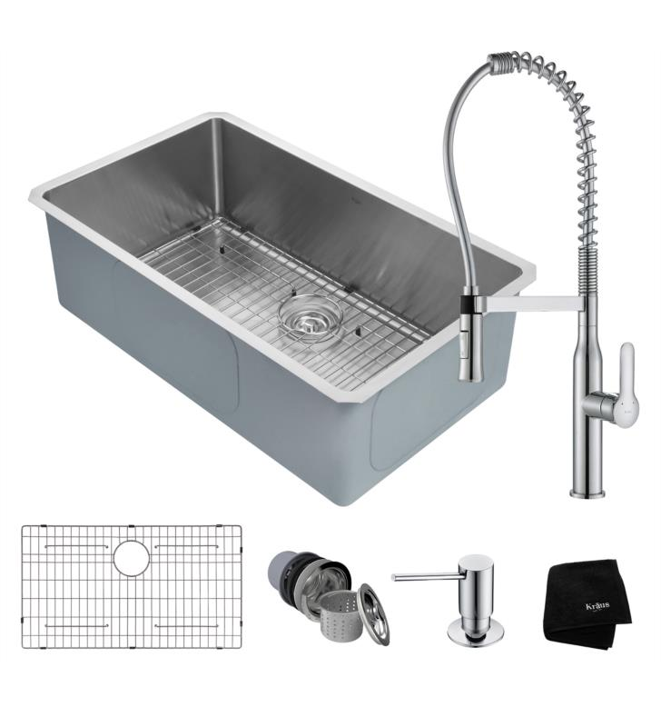 Medium image of kraus khu100 32 1650 41 32   single bowl undermount stainless steel kitchen sink with pull down