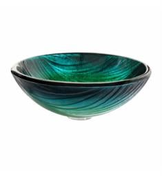 "Kraus GV-391-19MM Nature 17"" Single Bowl Nei Tempered Glass Vessel Bathroom Sink in Green"