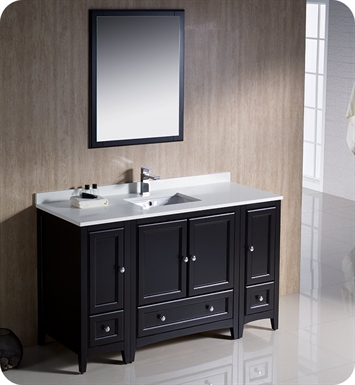 "Fresca FVN20-123012ES Oxford 54"" Traditional Bathroom Vanity with 2 Side Cabinets in Espresso"
