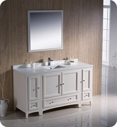 "Fresca FVN20-123612AW Oxford 60"" Traditional Bathroom Vanity with 2 Side Cabinets in Antique White"