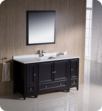 "Fresca FVN20-123612ES Oxford 60"" Traditional Bathroom Vanity with 2 Side Cabinets in Espresso"
