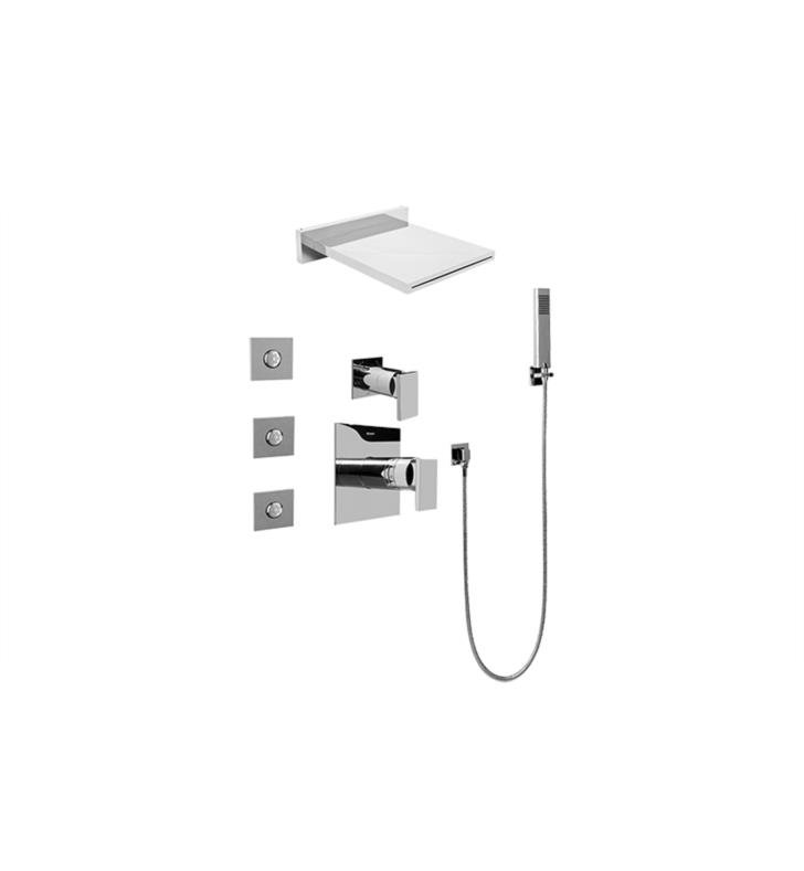 Graff GH5.125A LM31S PC Aqua Sense Square Water Feature Shower System With  Diverter Valve In Polished Chrome
