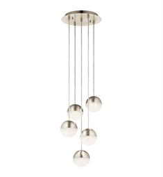 Elan Lighting 84014 Moonlit LED 5-Light Spiral Pendant in Brushed Nickel Finish