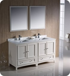 "Fresca FVN20-3030AW Oxford 60"" Traditional Double Sink Bathroom Vanity in Antique White"