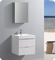 "Fresca FVN8324WH Valencia 24"" Glossy White Wall Hung Modern Bathroom Vanity with Medicine Cabinet"