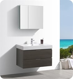 "Fresca FVN8336GO Valencia 36"" Gray Oak Wall Hung Modern Bathroom Vanity with Medicine Cabinet"