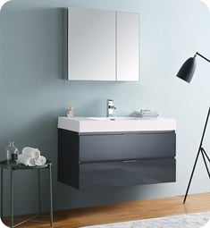 "Fresca FVN8342GG Valencia 40"" Dark Slate Gray Wall Hung Modern Bathroom Vanity with Medicine Cabinet"