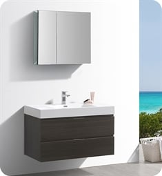 "Fresca FVN8342GO Valencia 40"" Gray Oak Wall Hung Modern Bathroom Vanity with Medicine Cabinet"