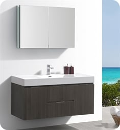"Fresca FVN8348GO Valencia 48"" Gray Oak Wall Hung Modern Bathroom Vanity with Medicine Cabinet"