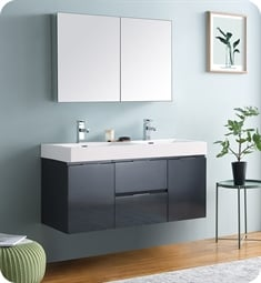 "Fresca FVN8348GG-D Valencia 48"" Dark Slate Gray Wall Hung Double Sink Modern Bathroom Vanity with Medicine Cabinet"