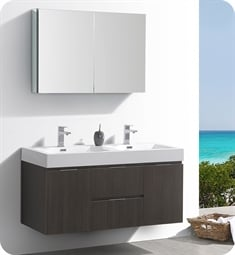 "Fresca FVN8348GO-D Valencia 48"" Gray Oak Wall Hung Double Sink Modern Bathroom Vanity with Medicine Cabinet"